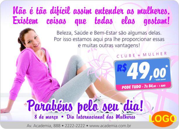 campanha dia das mulheres para academias